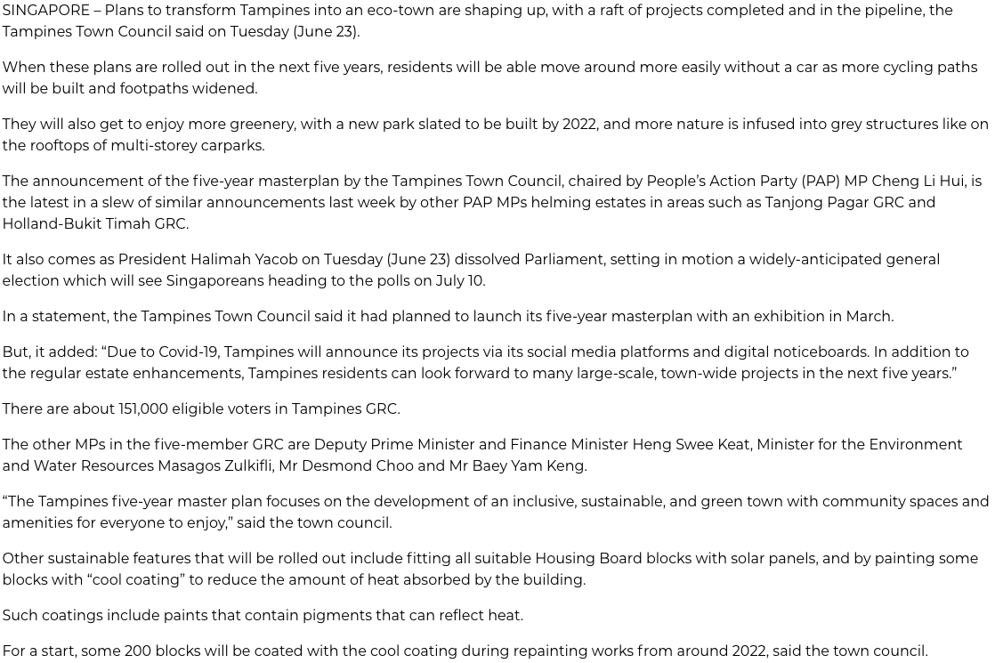 tampines town council rolls out five-year masterplan for eco-friendly town 2